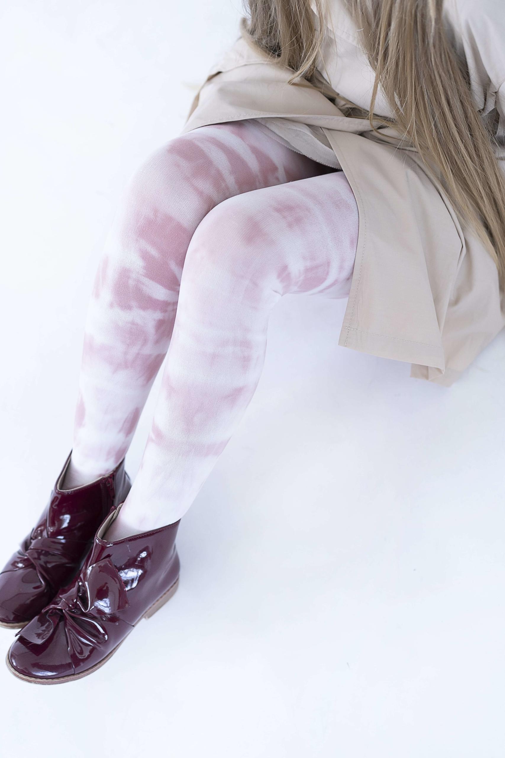 Rajstopy dziewczęce wzorzyste farbowane metodą tie-dye Tasha