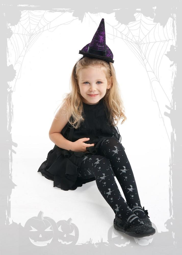 Rajstopy dziewczęce z brokatowym nadrukiem Halloween Czarownice