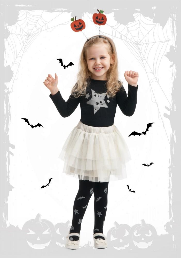 Rajstopy dziewczęce z brokatowym nadrukiem w różne wzory Halloween