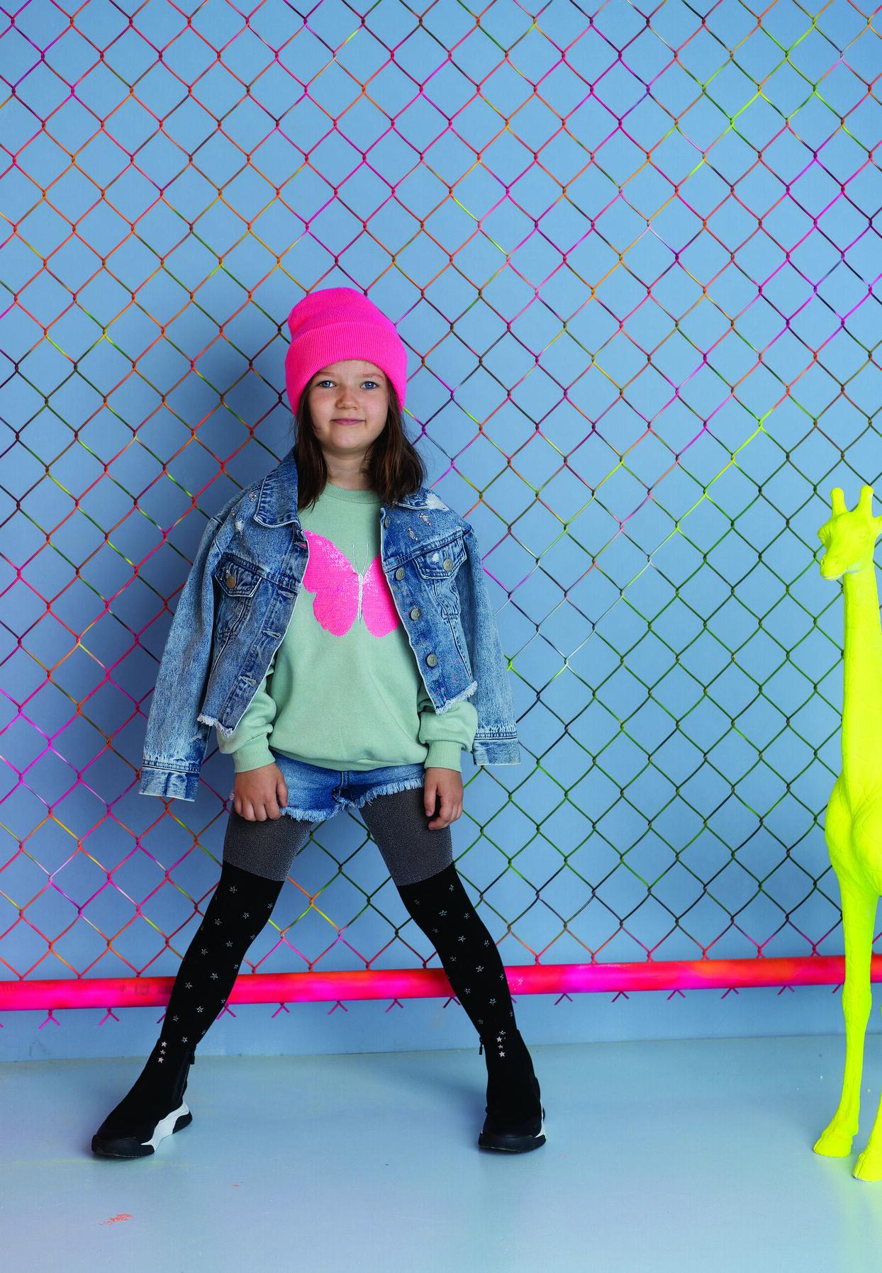 Dziewczęce rajstopy melanżowe z nadrukiem BE A STAR